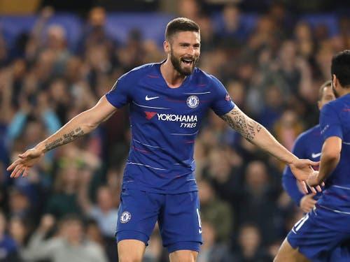 Olivier Giroud erzielte seinen 10. Treffer in der laufenden Europa League für Chelsea, das sich gegen Slavia Prag 4:3 durchsetzte (Bild: KEYSTONE/AP/MATT DUNHAM)