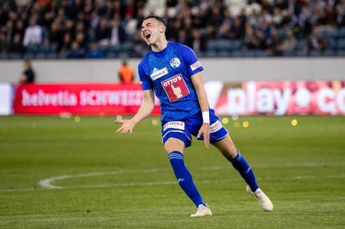 Luzerns Ruben Vargas ärgert sich über eine vergebene Chance. (Bild: Philipp Schmidli)