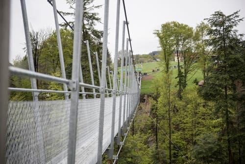 In 40 Metern Höhe überspannt die Hängebrücke das Tobel.