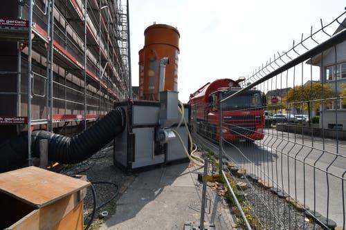 Mobile Pellet-Heizung für die Baustelle.
