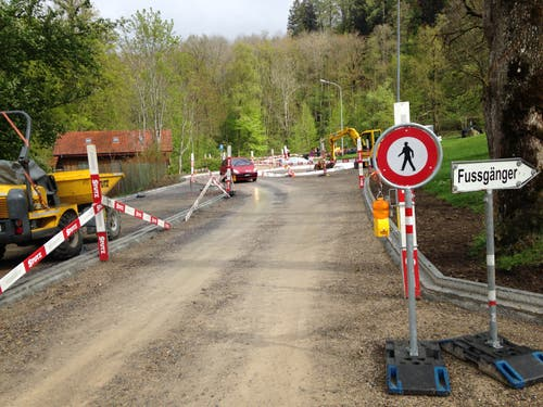 Umleitung für Fussgängerinnen und Fussgänger während der Bauphase.