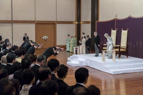 Kaiser Akihito und seine Frau Michiko an der Zeremonie. (Bild: Getty Images)