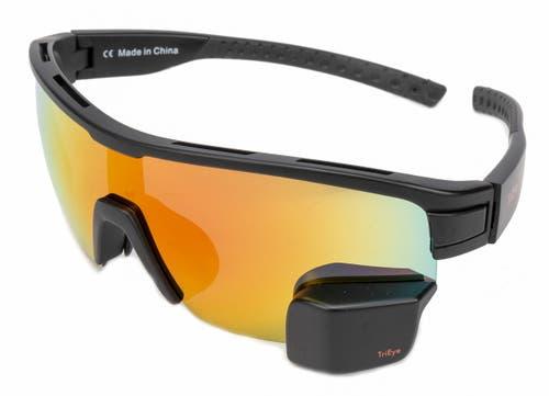 Brille mit Rückblick: Bei der TriEye ist der Rückspiegel in linken Glas unten integriert.