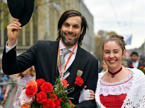 «Zwingli»-Darsteller Max Simonischek am Sechseläuten-Umzug 2019. (Bild: KEYSTONE/WALTER BIERI)