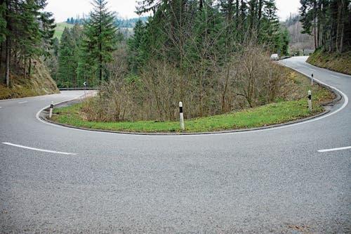 Mit dem Neubau der Brücke verschwindet der scharfe Rank auf der Kantonsstrasse zwischen Berneck und Reute. (Bild: Kurt Latzer)
