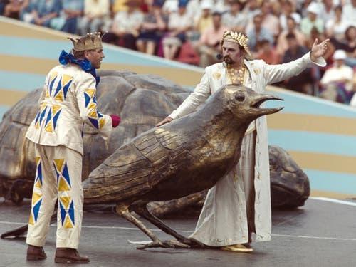 Bild von der Hauptprobe 1999. Die Fête des vignerons in Vevey findet nur rund alle 25 Jahre statt. (Bild: Keystone/STR)