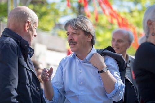 Hauptredner zum 1. Mai in St.Gallen war SP-Ständerat Paul Rechsteiner. Er hatte davor schon in Walenstadt gesprochen und trat danach auch noch in Rorschach auf. (Bild: Urs Bucher - 1. Mai 2019)