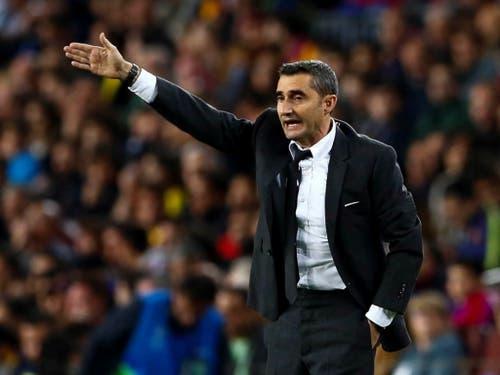 Barcelonas Cheftrainer Ernesto Valverde kam während dieses Spiels nie zur Ruhe (Bild: Keystone/EPA/Enric Fontcuberta)
