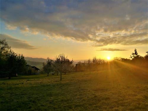 Wunderbare Abendstimmung beim Sonnenuntergang (Bild: Urs Gutfleisch, Ruswil, 30. April 2019)