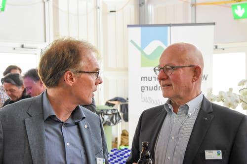 Josef Giger, Vetsch Treuhand AG, mit André Meyer, MM Immobilien AG. (Bild: Urs M. Hemm)
