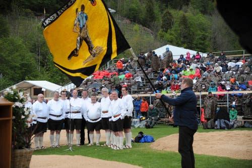 Der Jodlerklub Tälläbuebä umrahmte den Festakt musikalisch. (Bild: Urs Hanhart, Bürglen, 12. Mai 2019)