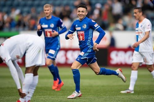 Später freute sich Vargas über seinen Treffer zum 2:0. (Bild: KEYSTONE/Ennio Leanza, Luzern, 12. Mai 2019)