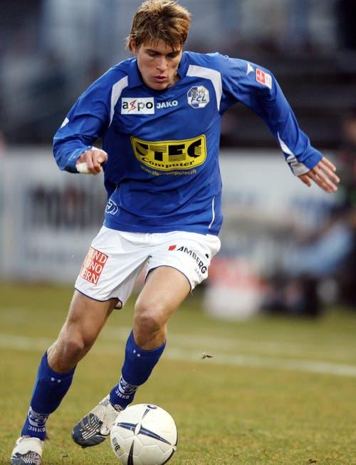 Lustenberger beim 2:0-Meisterschaftssieg am 24. Februar 2007 auf der Allmend gegen den FC Zürich. (Bild Philipp Schmidli, 24. Februar 2007)