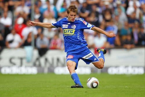Lustenberger in der Partie gegen den FC Thun im Gersag Stadion in Emmenbrücke. (Bild: Philipp Schmidli, 29. August 2010)