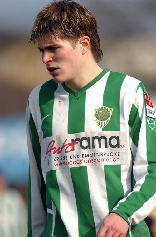 Claudio Lustenberger, hier noch beim SC Kriens – seinem Jugendverein. (Bild: Fabienne Arnet, 19. März 2005)