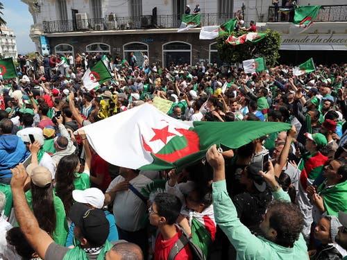 Am 13. Freitag in Folge haben in Algier (Bild) und weiteren Städten erneut Hunderttausende Menschen gegen die politische Elite des Landes demonstriert. (Bild: KEYSTONE/EPA/MOHAMED MESSARA)