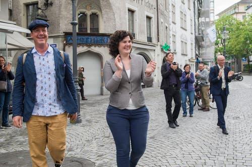 Korintha Bärtsch beim Bistro Krienbrüggli an der Pfistergasse. (Bild: Dominik Wunderli, Luzern, 19. Mai 2019)