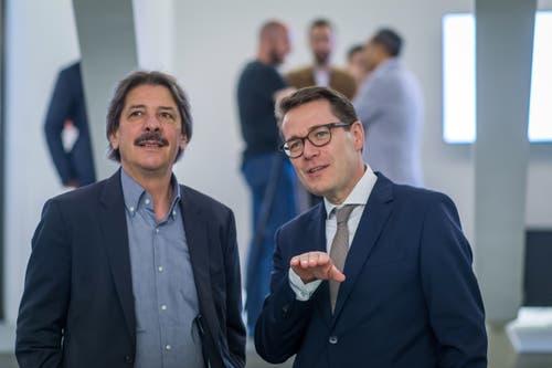 Der neu gewählte Ständerat Beni Würth mit Paul Rechsteiner von der SP. Bild:Michel Canonica