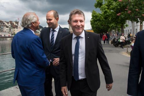 Marcel Schwerzmann, rechts, Paul Winiker, links und Fabian Peter (mitte). (Bild: Eveline Beerkircher, Luzern, 19. Mai 2019)