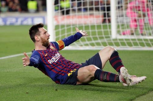 Lionel Messi schiesst Barcelona mit einem herrlichen Freistoss-Tor zum 3:0-Heimsieg gegen Liverpool. (Bild: Emilio Morenatti / AP)