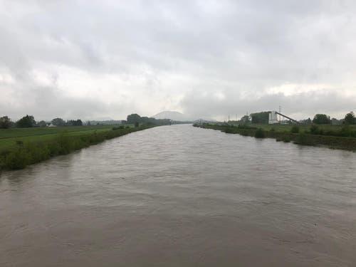 Auch der Rhein, aufgenommen bei Diepoldsau, führt viel Wasser mit sich. (Bild. Fm1Today, Marc Hanimann)