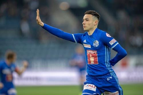 Ruben Vargas von Luzern feiert sein Tor zum 1:0. (Bild: Urs Flüeler / Keystone, Luzern, 22. Mai 2019)