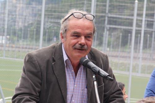 OK-Präsident der Einweihungsfeier war der frühere Gemeindepräsident Werner Zgraggen. (Bild: Paul Gwerder, 25. Mai 2019)