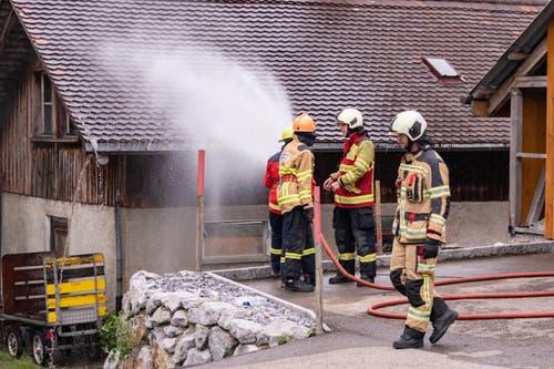 So würden im Ernstfall gefährdete Gebäude in der Nähe des Brandherdes geschützt. (Bild: Sascha Erni)