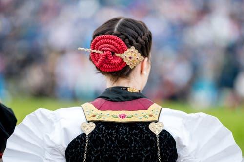Ehrendame am Ob- und Nidwaldner Kantonalschwingfest. (Bild: Philipp Schmidli, Oberdorf, 26. Mai 2019)
