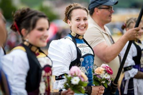 Ehrendamen am Ob- und Nidwaldner Kantonalschwingfest. (Bild: Philipp Schmidli, Oberdorf, 26. Mai 2019)