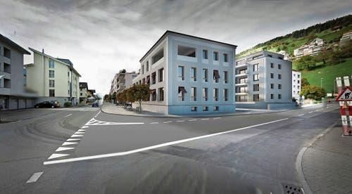 Es entstehen zwei neue Gebäude, vorne mit Gewerbe, hinten mit Mietwohnungen. (Bild: Visualisierung: PD)