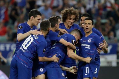Jubel nach Chelseas Führungstor durch Olivier Giroud. (Bild: Luca Bruno / AP)