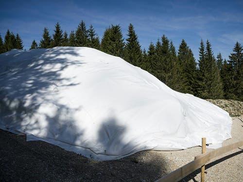 Der neun Meter hohe, weisse Hügel inmitten eines grünen Fichtenwaldes bietet dem Besucher ein seltsames Bild. (Bild: Keystone/JEAN-CHRISTOPHE BOTT)