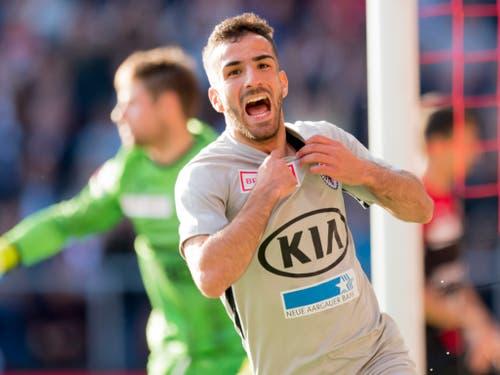 Auch Aaraus zweiter Goalgetter Varol Tasar leistete seinen Beitrag zum unerwarteten Ergebnis (Bild: KEYSTONE/LAURENT GILLIERON)