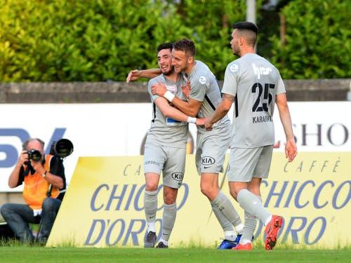Die Spieler des FC Aarau hatten in den letzten Monaten viel Grund zum Jubeln (Bild: KEYSTONE/SAMUEL GOLAY)
