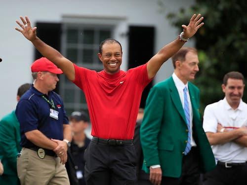 Am US Masters in Augusta hätte man Tiger Woods für Zahnpasta-Werbung einsetzen können (Bild: KEYSTONE/EPA/TANNEN MAURY)