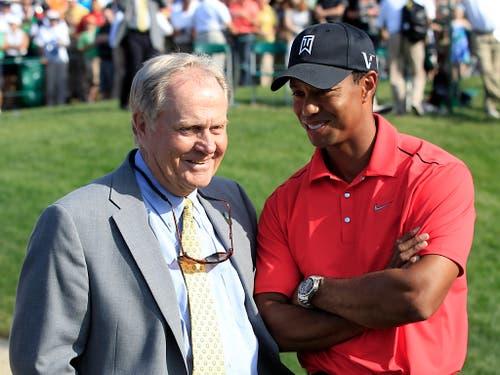 Die Besten unter sich: Rekordhalter Jack Nicklaus und Verfolger Tiger Woods (Bild: KEYSTONE/AP/TONY DEJAK)