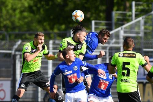 Die Luzerner verlieren im Tessin 0:1 und verpassen so die Chance, den 3. Tabellenplatz zu erobern. Im Folgenden sehen Sie die Noten der FCL-Spieler. (Bild: KEYSTONE/Ti-Press/Samuel Golay, Lugano, 5. Mai 2019)