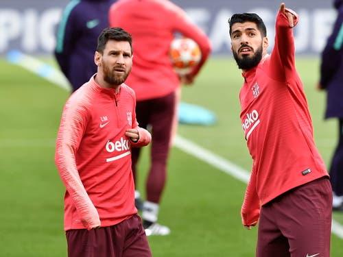 Lionel Messi (links) and Luis Suarez - die beiden Offensiv-Leader von Barcelona (Bild: KEYSTONE/EPA/NEIL HALL)