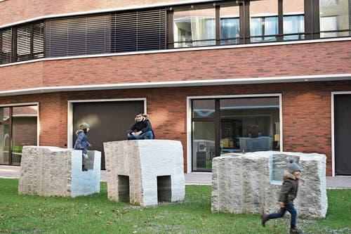 Die Skulpturengruppe «Verde Spluga» steht seit dem Sommer 2018 im Brünighof in Luzern. (Bilder: Hanspeter Lüthi, «Verde Spluga», 2019)