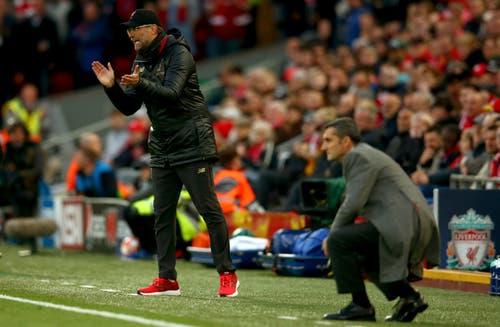 Liverpool-Trainer Jürgen Klopp (links) und Barcelona-Trainer Ernesto Valverde. (Bild: Dave Thompson / AP)