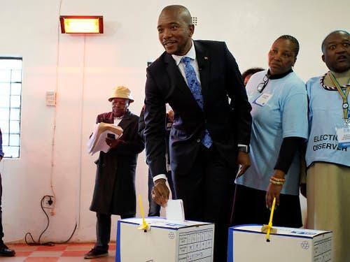 Für Oppositionsführer Mmusi Maimane von der Demokratischen Allianz (DA) ist es Zeit für einen Wechsel. (Bild: KEYSTONE/AP/JEROME DELAY)