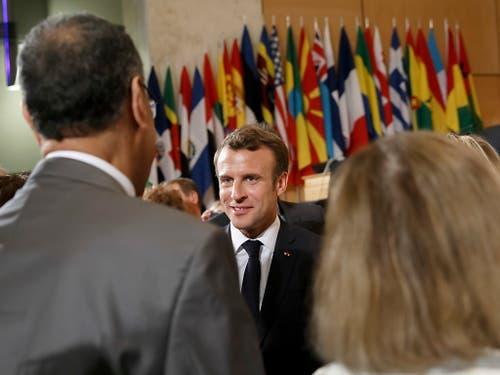 Die Marktwirtschaft muss sozialer werden: Frankreichs Präsident Emmanuel Macron an der ILO-Versammlung in Genf. (Bild: KEYSTONE/SALVATORE DI NOLFI)