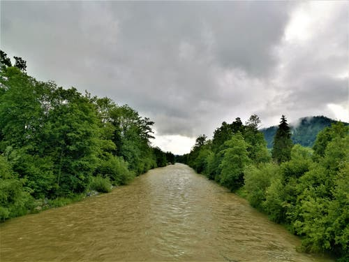 Nach den Regenfällen der letzten Tage führt auch die Kleine Emme viel Wasser mit sich. (Leserbild: Urs Gutfleisch, Malters LU, 11. Juni 2019)