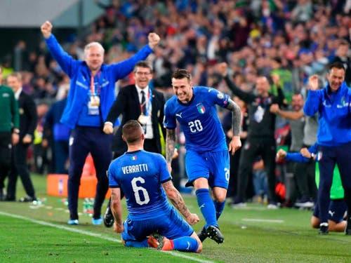 Dank Marco Verattis 2:1 in der 86. Minute bleibt Italien in der EM-Qualifikation makellos (Bild: KEYSTONE/AP ANSA/ALESSANDRO DI MARCO)