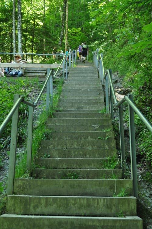 Hoch das Bein: Hier geht es über 187 Stufen hoch hinaus.