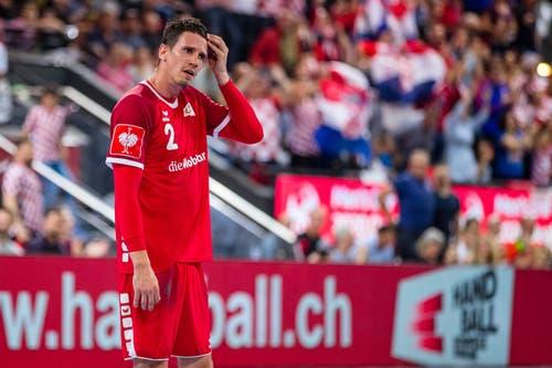 Enttäuschung bei Andy Schmid nach dem Spiel. (Bild: Philipp Schmidli, Zug, 12. Juni 2019)