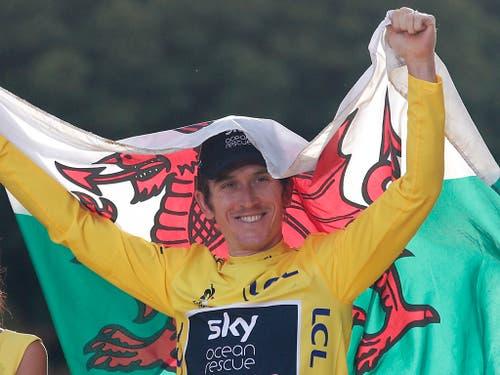 Geraint Thomas bereitet sich an der Tour de Suisse auf die Tour de France vor. Überraschend hatte der Waliser letztes Jahr die Frankreich-Rundfahrt gewonnen (Bild: KEYSTONE/AP/FRANCOIS MORI)