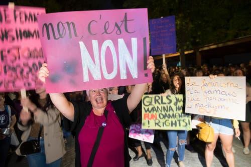 Nein ist Nein – Frauenstreik in Lausanne. (Bild: KEYSTONE/Laurent Gillieron)