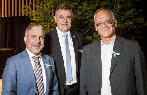 Bankrat Roman Giuliani, Grossratspräsident Kurt Baumann und dem selbständigen Berater Christoph Tobler an der Partizipanten-Versammlung 2019 in der Bodenseearena in Kreuzlingen.